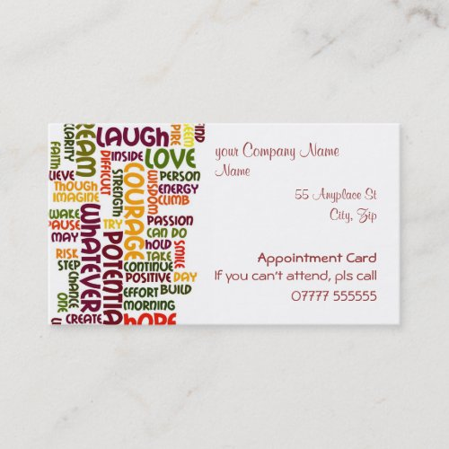 Motivational Words #1, appointments card