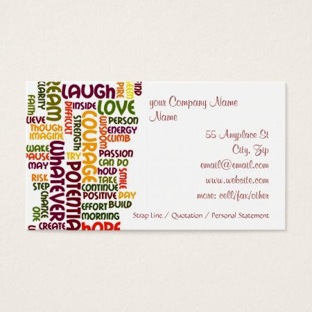 Motivational Words #1 positive encouragement Business Card