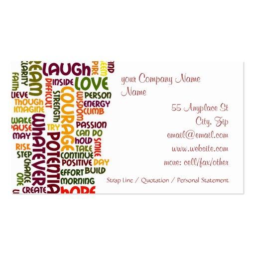 Motivational speaker business card templates bizcardstudio motivational words 1 positive encouragement business card template colourmoves
