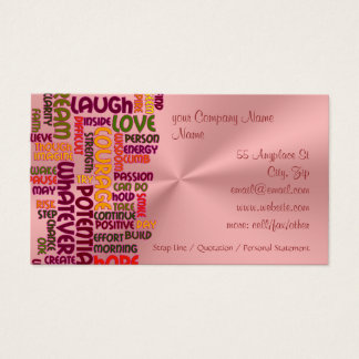 Motivational Words #1 positivity, pink chrome-look Business Card