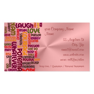 Motivational Words #1 positivity, pink chrome-look Double-Sided Standard Business Cards (Pack Of 100)