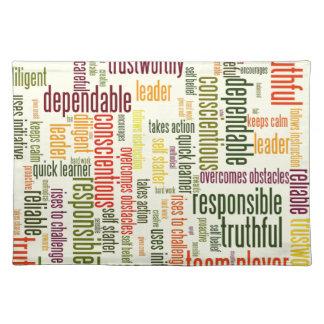 Motivational Words #4 positive values Place Mats