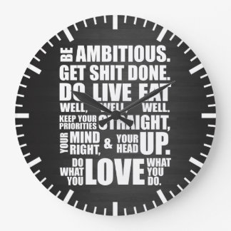Motivational Words - Be Ambitious Large Clock