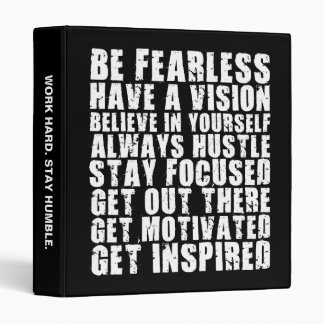 Motivational Words - Be Fearless. Have a Vision. 3 Ring Binder