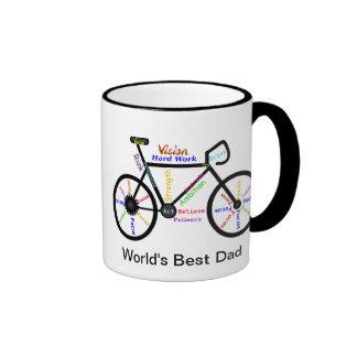 Motivational Words Bike, Cycle Best Dad Ringer Mug