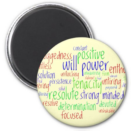Motivational Words for New Year, Positive Attitude 2 Inch Round Magnet