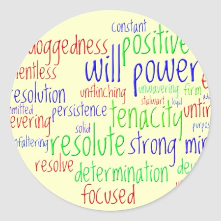 Motivational Words for New Year, Positive Attitude Classic Round Sticker