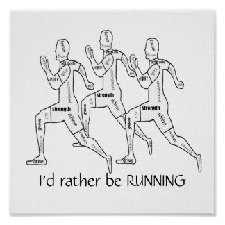 Motivational Words,I'd Rather be Running Print