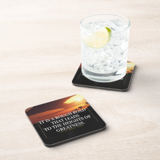Motivational Words - Rough Road Leads to Greatness Beverage Coasters