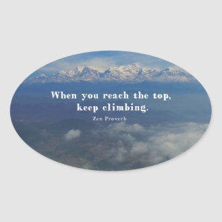 Motivational Zen Proverb about Challenges Oval Sticker