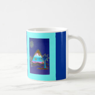 """Motive cup: """"Small turquoise mountain with palm """" Classic White Coffee Mug"""