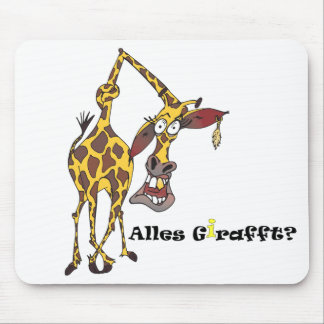 Motive: merry giraffe with earring and gold tooth mouse pad