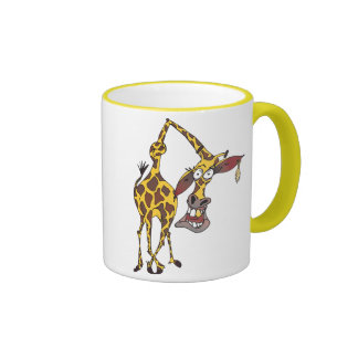 Motive: merry giraffe with earring and gold tooth ringer coffee mug