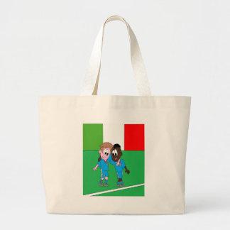 Motivo banderas Italia y jugadores italianos Bolsa De Tela Grande