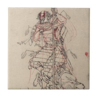 Motivo de consumición del samurai circa 1800s azulejo cerámica