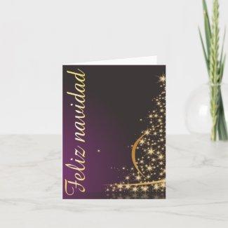 Motivo navideño morado con dorado árbol de navidad card