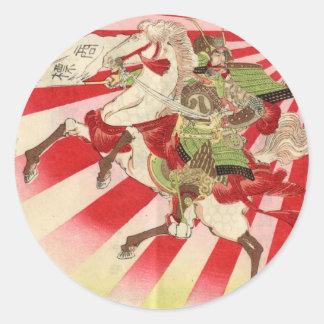 Motivo para una impresión de Woodblock del vintage Pegatinas Redondas