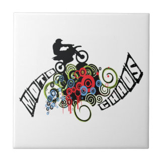 Moto Chaos Dirt Bike Rider Ceramic Tile