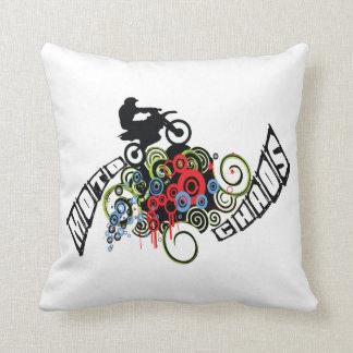 Moto Chaos Dirt Bike Rider Throw Pillows