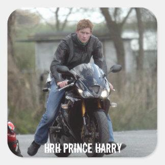 Moto de príncipe Harry de HRH Calcomanías Cuadradass Personalizadas