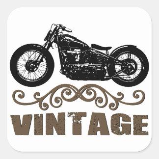 Moto del vintage pegatina cuadrada