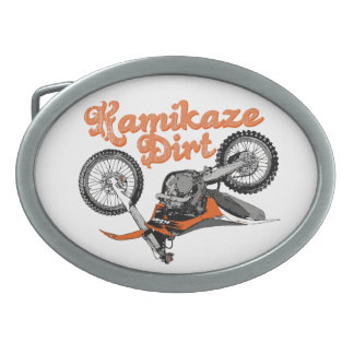 Moto racing oval belt buckle