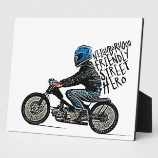 Moto racing plaque