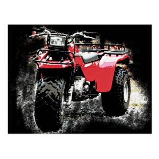 Moto roja rodada tres del ATC Trike Tarjetas Postales