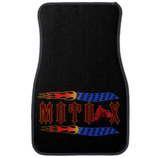 MOTO X FLAMES AND CHECKERED FLAGS. CAR FLOOR MAT