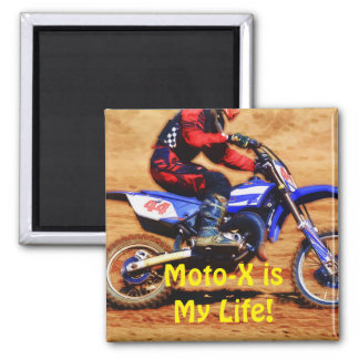 Moto-X is My Life Dirt-racing Art 2 Inch Square Magnet