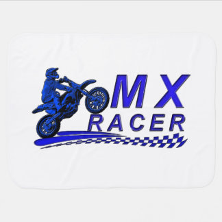 Moto X racer with checkered flag Swaddle Blankets