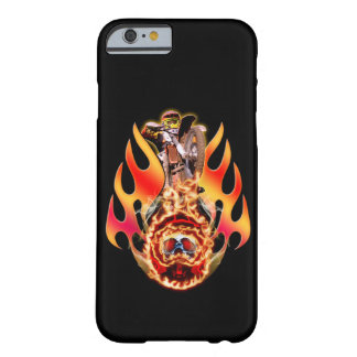 Moto X rider jumping over a helmet with a skull Barely There iPhone 6 Case
