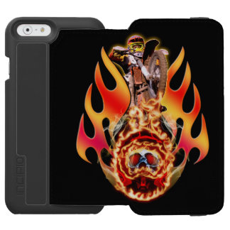 Moto X rider jumping over a helmet with a skull iPhone 6/6s Wallet Case