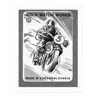 Motocicleta a solas del Matchbook del vintage del Tarjetas Postales
