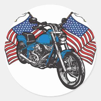 Motocicleta americana del motorista pegatina redonda