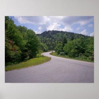 Motocicleta azul de la ruta verde de Ridge Impresiones