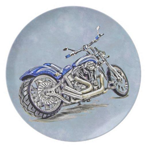 Motocicleta azul HDR Plato De Cena