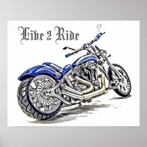 Motocicleta azul HDR Póster