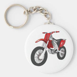 Motocicleta campo a través/de Enduro roja y negra Llavero Redondo Tipo Pin