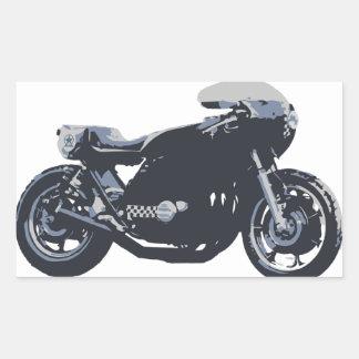 Motocicleta clásica del corredor del café rectangular pegatina