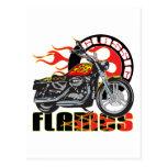 Motocicleta clásica del trabajo de la pintura de postal