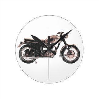 Motocicleta clásica simplemente hermosa reloj redondo mediano