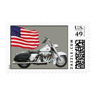 Motocicleta con el sello de la bandera