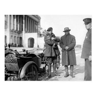 Motocicleta con Sidecar, 1918 Postal