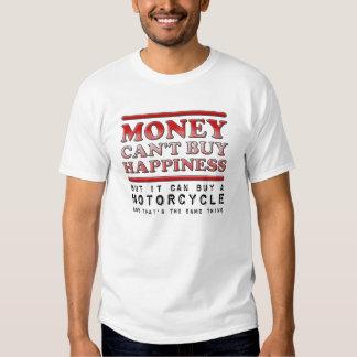 Motocicleta de compra de la felicidad camiseta remera
