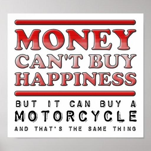 Motocicleta de compra de la felicidad poster diver