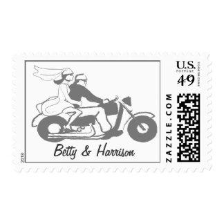 Motocicleta de encargo del boda de novia y del estampilla