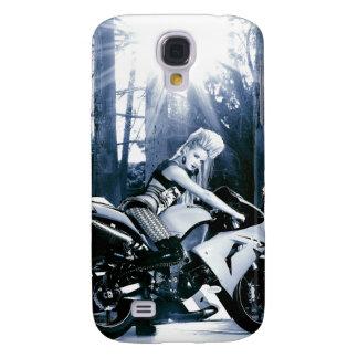 Motocicleta de Kawasaki, polluelo del motorista, g Funda Para Galaxy S4