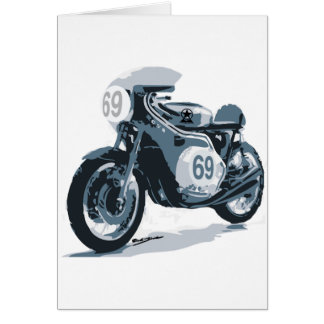 Motocicleta de la obra clásica del corredor del ca tarjeta de felicitación