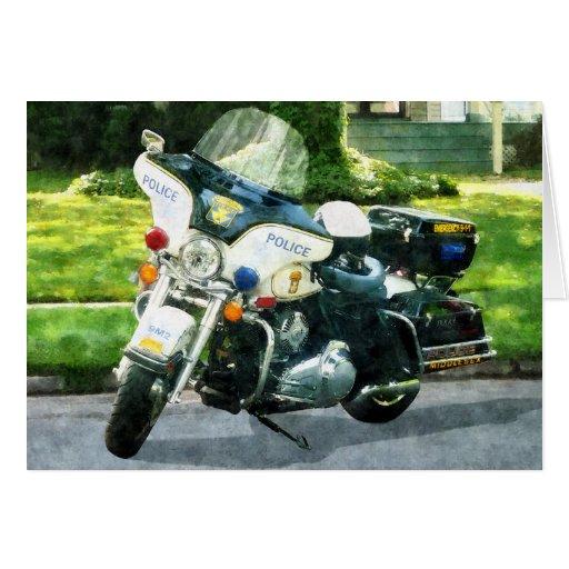 Motocicleta de la policía tarjeta de felicitación